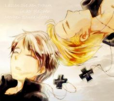 "Germany and Prussia from ""Hetalia.""  My translator app came up with ""Let the dream in the same morning sun again."""