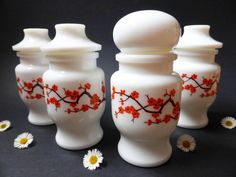 This fabulous canister set was made in Belgium. This set includes four canisters of the same size, beautifully decorated with Japanese cherry blossom