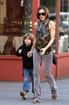 Sarah Jessica Parker Tank Top - SJP wore a camo-printed top by the late great designer while walking her adorable son to school.