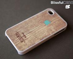 iphone 4 case  Apple logo on wood print  mint by BlissfulCASE, $14.99