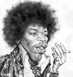 Caricaturas de famosos. Jimmy Hendrix Liam Neeson, Anton, Portraits, Water Colors, Celebrity Caricatures, Gold, Fotografia