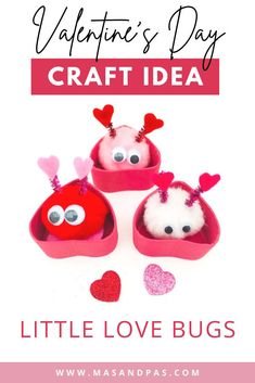 These adorable pom pom love bugs are such a fun and easy kids craft for Valentines Day! They are adorned with sparkly pipe cleaners, felt hearts, and googley eyes, and you can even make a heart shaped box to place them in. If you have a toddler or preschool student, this is the perfect Valentines activity to spread a little love and celebrate the holiday! #valentinesdaycrafts #easykidscrafts #lovebugcraft #pompomcrafts #valentinesdayactivities