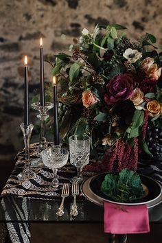 Fall in Love with the Florals and Design in This Bold Wedding Inspiration #halloween #moodywedding #eventstyling
