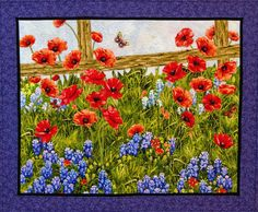 Quilts by JVC ..  .. PATTERNS - Poppies On The Fence Close-ups - tutorial
