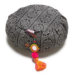 Black Bandhani Zafu Meditation Cushion on AHAlife