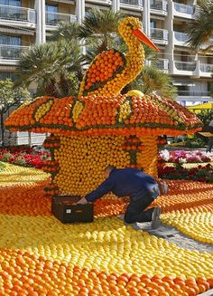 The Lemon Festival in Menton, France - A close-up of the Alsace display. Locals believe that having a stork nest on your home is a sign of good luck.