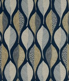 Robert Allen @ Home Woodblock Leaf Indigo Fabric