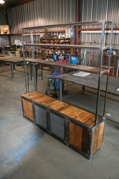 the Berend...shown with shelving unit above tv console. Steel frame with reclaimed barn wood and expanded sheet metal. www.metalfred.com