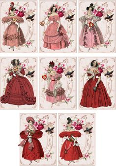 Vintage Jane Austen Valentine small note cards tags ATC altered art set of 6 #handmade