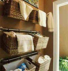 DIY bathroom storage ideas love this tub and surround My half bathroom decor inspirations! towel rod + clips = hanging baskets for b. Sweet Home, Towel Rod, Towel Hanger, Gym Towel, Towel Hooks, Ideas Prácticas, Decor Ideas, Diy Casa, Ideas Para Organizar
