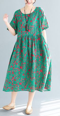 Loose green print cotton linen dresses Plus Size Inspiration o neck pockets Vestidos De Lino Summer Dress Casual Dresses With Sleeves, Linen Dresses, Simple Dresses, Cotton Dresses, Summer Dresses, Dresses Dresses, Color Combinations For Clothes, Plus Size Inspiration, Mode Hijab
