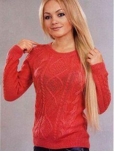 Вязание крючком и спицами - Пуловер-реглан с ромбами и косами