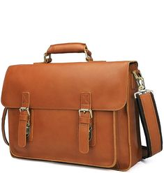 This classic leather briefcase that makes for a terrific business or casual companion. Durable and sturdy, designed support all your business related work. Briefcases, Types Of Bag, Orange Leather, Leather Briefcase, Classic Leather, Messenger Bag, Satchel, Bags, Leather Portfolio