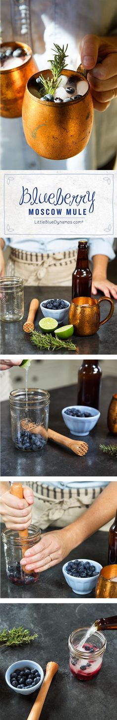 Its finally the weekend, cool of with this easy to make this Blueberry Rosemary Moscow Mule