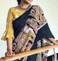 Modern saree blouse design is much inspired from shirts and top which has made saree more comfortable and trendy. Have a small look at below Sari Blouse Designs, Saree Blouse Patterns, Fancy Blouse Designs, Designer Blouse Patterns, Blouse Styles, Kalamkari Blouse Designs, Kalamkari Saree, Pattern Blouses For Sarees, Kalamkari Blouses