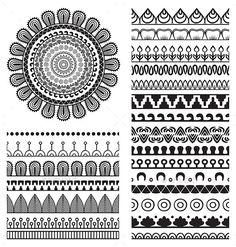 Mandala Ornament and Borders - Decorative Symbols Decorative Mandala Doodle, Mandala Art Lesson, Mandala Artwork, Doodle Art, Mandala Sketch, Doodle Patterns, Henna Patterns, Zentangle Patterns, Mandala Design