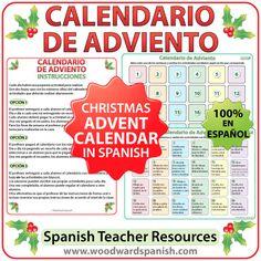 Advent Calendar in Spanish for teachers. Calendario de Adviento en español para profesores. #ELE