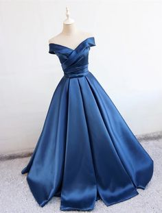 navy blue satin v neck ball gown prom dresses 2018 off the shoulder evening gowns