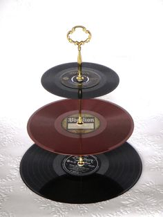 3 Tier Vinyl Record Cup Cake Stand  -   Bernadine - Pat Boone. $35.00, via Etsy.