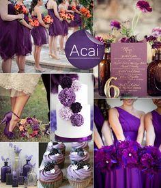Dark Purple Acai Wedding Color Inspiration, Tablescape Centerpiece, cup cakes, flowers. #wedding #theme #pin