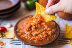 Looking for a great salsa recipe to use up your garden fresh tomatoes? This salsa recipe is full of fresh summertime flavor and is great for stocking the pantry. Use it as a dip with chips, or as an addition to recipes like chili or soup. The Best Salsa Recipe For Canning, Salsa Canning Recipes, Fresh Salsa Recipe, Canning Salsa, Fresh Tomato Recipes, Relish Recipes, Jalapeno Recipes, Zucchini Salsa, Cherry Tomato Salsa