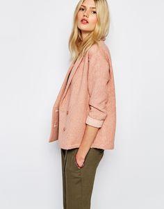 Image 1 ofSessun Aso Textured Blazer in Tan Rose