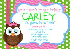 Owl Birthday Invitation, personalized applique shirt, and cupcake toppers on Etsy, $45.00
