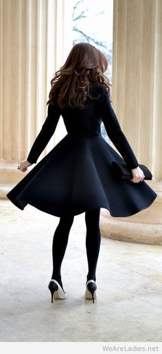 Black dress and black opaque tights