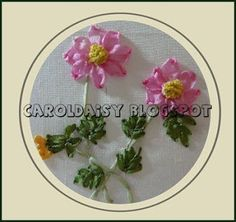 The Best Free Crafts Articles: Cosmos In Silk Ribbon Embroidery By Carol Daisy of Embroideries From Daisy's Garden