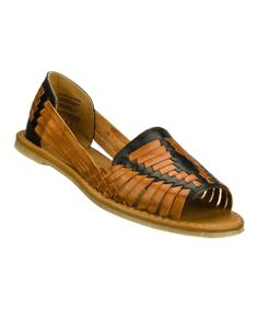 Take a look at the Tan & Black Muchaha Leather Sandal on #zulily today!