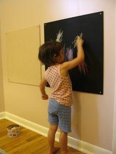 { chalkboard and a felt board }