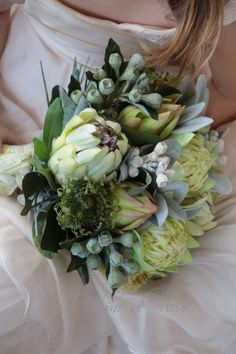 Shades of Green by LaPlumeDeFleur Forest Wedding, Boho Wedding, Protea Bouquet, Australian Native Flowers, Wedding Venue Decorations, Wedding Cakes With Flowers, Bride Bouquets, Wedding Guest Book, Shades Of Green