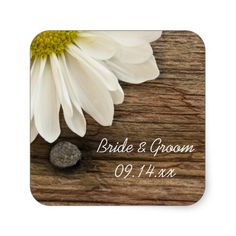 Daisy and Barn Wood Country Wedding Envelope Seals Stickers