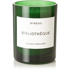 Byredo Bibliothèque scented candle, 240g (265 BRL) ❤ liked on Polyvore featuring home, home decor, candles & candleholders, green, green candles, vanilla candles, heart vessels, patchouli scented candles and green home decor