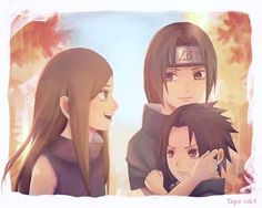 Hey, stop looking at my brother like that. Izumi, Itachi and Sasuke