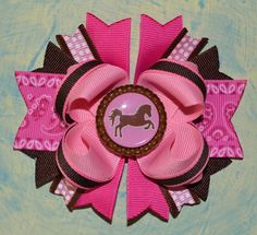 Cowgirl Horse Bottle Cap Boutique Hair Bow by buddhabelly10, $6.50