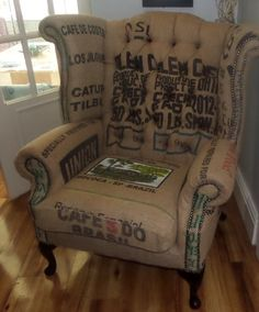 Coffee Sack Queen Anne Scroll Wing Chair by SteveWattsUpholstery