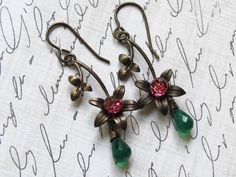 Brass Flower Earrings - Vintaj Brass Green Onyx Swarovski Crystals Pink