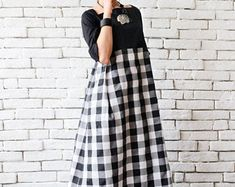 Long Loose Maxi Dress/Oversize Black White Kaftan/Casual Summer Dress/Plus Size Monochrome Dress/Checked Dress/Half Sleeve Everyday Dress