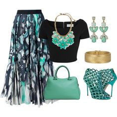 """Woman's fashion """"bud green/black outfit idea long skirt/crop top""""  things to wear"""