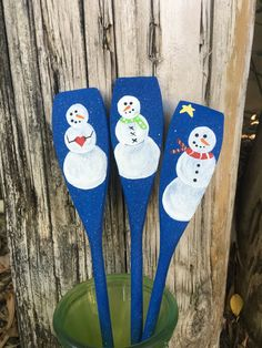 Snowman Spoons Set/3, Hand Painted Decorations or Hostess Gift, Winter Kitchen Decor, Kitchen Decor, Christmas Spoons, Holiday party favor
