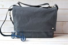 GRAY Canvas Messenger bag  / Shoulder Bag / Laptop Bag by ikabags