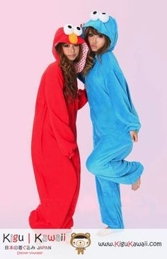 Sesame Street Blue & Red Elmo Character Adult Kigurumi Sweaters  http://www.kigukawaii.com/collections/what-s-new/products/stitch-gray-animal-adult-kigurumi-sweaters