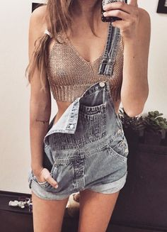 crochet crop top + overalls