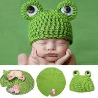 Wish | New Born Clothes Romper Animal Design Baby Girl Knit Hat Photo Prop Outfits AP
