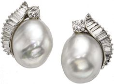 South Sea Cultured Pearl, Diamond and Gold Earrings.