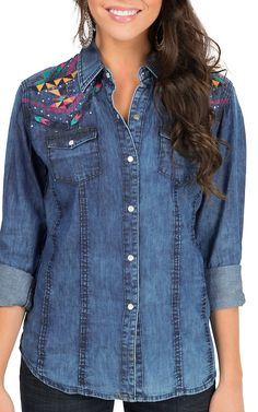Panhandle Women's Chambray with Multicolor Aztec Embroidery Long Sleeve Western Shirt   Cavender's