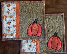 Applique Pumpkin Quilted Mug Rugs or Mini by PatsPassionQuilteds, $16.00
