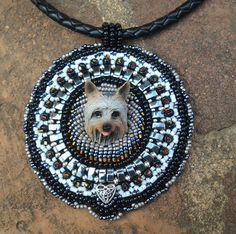Beaded Silky Terrier Dog Necklace Pendant by BeadingStone on Etsy, $60.00