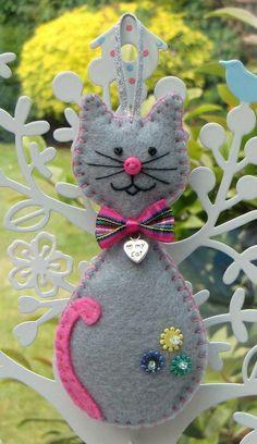 Cat Hanging Decoration - Hattifer's hand sewn gifts